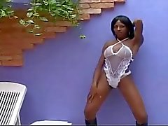 Black shemale Luana Santos strip and jerk off