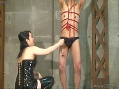 Japanese Femdom Towa hit the whip to the slave's penis