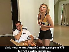 Cute blonde does blowjob and titsjob for pizza guy with pizza on