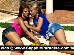 Lovely blonde and brunette lesbians kissing and having lesbian sex