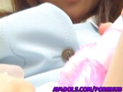Pretty office lady in glasses, Rina Hasegawa plays in her pussy with toys