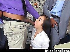 Asian Beauty Mila Jade Sucking Two Dark Dinks In Cleaners