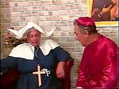 Priest whipping fat nun's ass