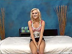 Cute blonde Chloe is seduced and fucked hard by her massage