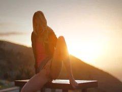 Sunset in Malibu in art tease movie