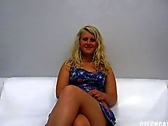 Amateur hot chubby blonde takes a dick at the casting