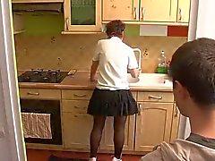 boy visit mom in kitchen
