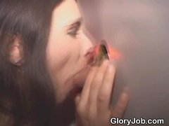 Brunette Amateur Blowjob And Facial Through Glory Hole