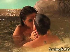 Amateur swinger couples fuck in the jacuzzi for reality show
