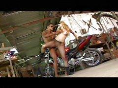 Latina biker babe fucked in a garage