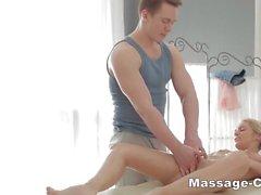 Teen blonde riding after massage