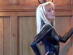 Natashan Mustat Lateksiset Sleeve Catsuit