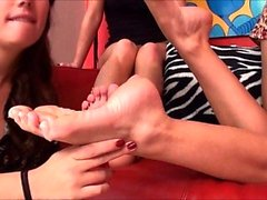 Hot foot fetish threesome