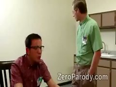 2 horny college beauties take advantage of nerdy cock in parody