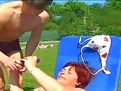 chubby redhead fucks with young outdoor