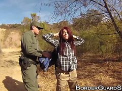 Teen fucks border guard