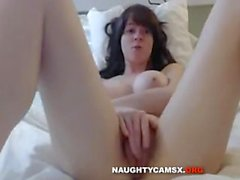 Hot babe with great big tits and a sexy hairy pussy