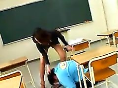 Slapping And Crotch Stepping Japanese Teacher