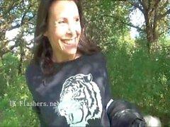 Flashing Ella James in public nudity and daring outdoor masturbation
