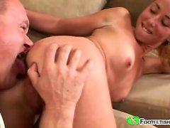 Blonde slut gets her foot licked