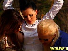 Lesbians pee on whore