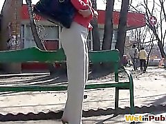 Longhaired chick filmed wetting her pants