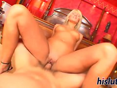 Kinky blonde rides on a massive cock