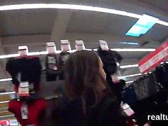 Gorgeous czech kitten gets seduced in the shopping centre an