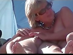Mature Sucking on Beach by TROC