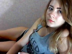 Lusty blonde bimbo has a great time showing you her hot but