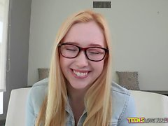 Blonde teen Samantha Rone fucks huge cock