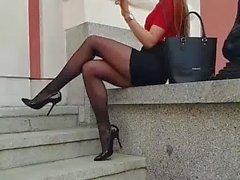 babe in black pantyhose