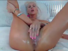 huge dildo makes blonde squirt