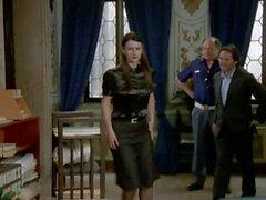 Hot secretary in black satin blouse german tv