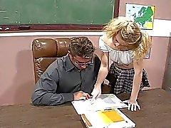 Blonde schoolgirl fucks her hot teacher
