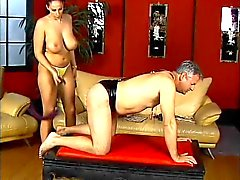 Horny dude gets spanked by hot mistress Gianna Michaels