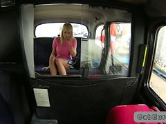 Stunning blonde gets pussy banged in fake taxi