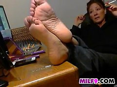 Mom Showing Off Her Feet And Smokes