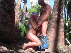 Hot Couple, Amazing Public Fucking on Beach and Jungle, Covers her in Cum!