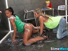 Lesbians gloryhole cummed