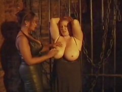 BBW gets her hugh tits chained and slapped