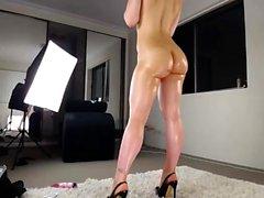 Brunette babe Celeste Star enjoys a horny solo masturbation