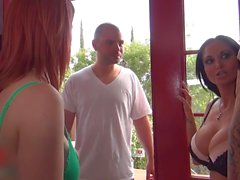 Three girls and their neighbor