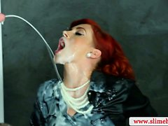 Sexy redhead bukkake babe sprayed with cum