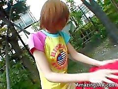 Aziatische redhead tiener wordt opgepikt voor part4