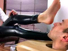 Cute mistress receives foot worship