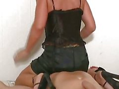 LUsty chicks binds her boyfriend to the bed and plays with his tool.