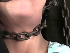 Bit gagged bondage fetish sub tied up by male dom