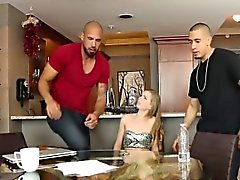Bratty blonde Sydney Cole got doubleteamed by roommates