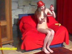 CASTING girl does BJ and fucks her pussy with banana